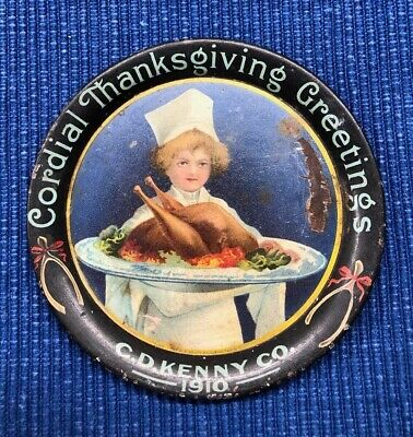 C.D. Kenny Co. 1910 Cordial Thanksgiving Greeting Litho Tin Tip Tray