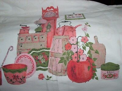 Vintage 1950's Retro Pink Green Kitchenware Tablecloth Table Cloth Cotton 52x78