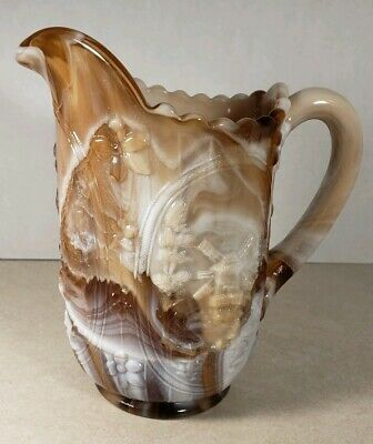 """Vintage Imperial Glass 6.5"""" Brown Slag Glass Windmill Pitcher"""