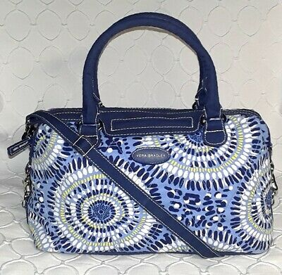 VERA BRADLEY STARRY NIGHT Navy Blue White Yellow Quilted SATCHEL Crossbody BAG