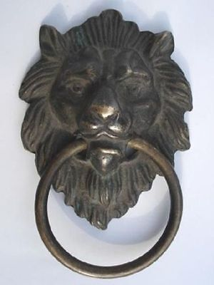 "Chinese Bronze Fierce Lion Head Door Knocker 4.4""High"