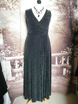 PHASE EIGHT Ballgown/ Long Dress Size 16 Black/Silver Stretch Formal Cruise Maxi