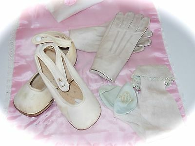 ANTIQUE 1900 Leather BABY Ankle Strap Button Shoes & Gloves & Silk Socks 3Pc LOT