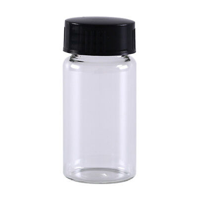 1pcs 20ml small lab glass vials bottles clear containers with black screw cap uh