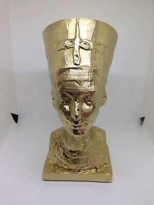 Ancient Egyptian Art Statues  Queen Nefertiti Small Head And Bust Painted Gold