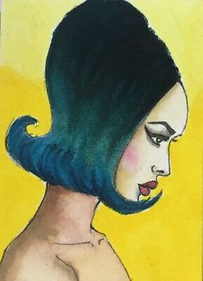 Original ACEO painting. Asian female profile portrait with colorful hair by VS