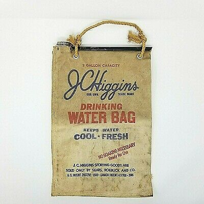 JCHiggins Canvas Drinking Water Bag 2 Gallon Sears Roebuck Camping Vtg Antique