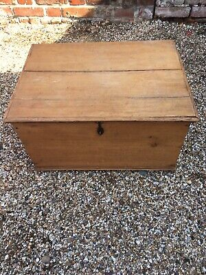 Lovely Antique Blanket Box/Chest Old Pine With Wrought Iron Hardware