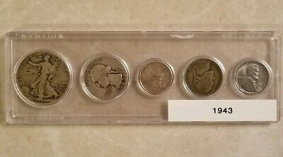 1943 Coin Set WWII Era Well Circulated Steel Penny Birth Year Set