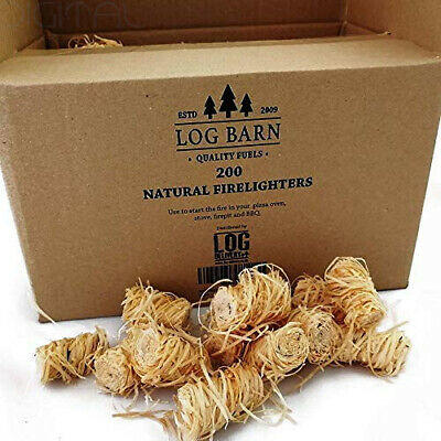 Natural Eco Wood Firelighters - 200 Wood Wool Flame Fire Starters Per Box