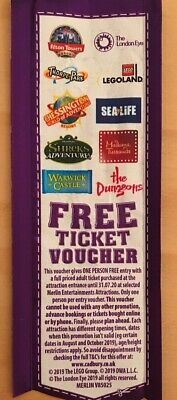 Merlin attractions free ticket Alton Towers Sea Life