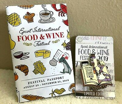 Disney Epcot 2019 Food & Wine Festival FIGMENT Pin Limited & Festival Passport