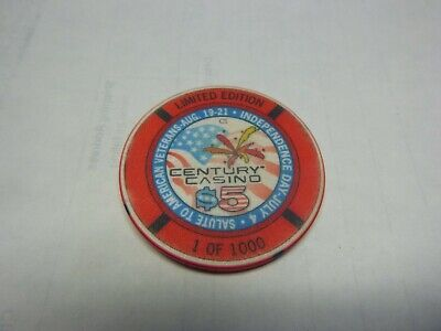 # 7 Casino Poker Chip} Century Casino Cripple Creek Ltd Edition Veterans 1/1000