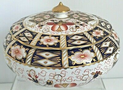 Rare Royal Crown Derby 2451 Or Traditional Imari Covered Round Box - Date 1910
