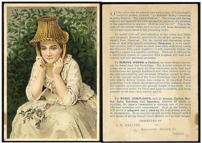 Russiaville IN DR. JAYNE'S TONIC Medical Quack Cure VICTORIAN Trade Card WOMAN