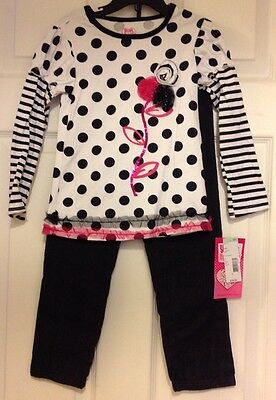 New Girls Young Hearts Two Piece Black And White Polka Dot Shirt Skinny Jeans 5