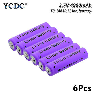 18650 Battery 3.7V 4900mAh Li-ion Rechargeable Cell For Flashlight Torch 6Pcs A