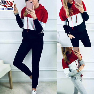 2PCS Women Tracksuit Hoodies Sweatshirt+Pants Set Lady Sportwear Suit Plus Size