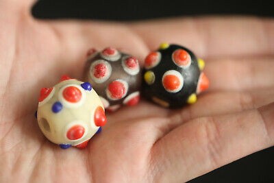 Chinese Old Beijing Colorized Glaze *Eyes* Beautiful Bead    d24