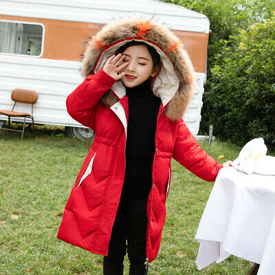Kids Girls Winter Fur Hooded Hoodies Outwear Trench Coat Jacket Overcoat Parka