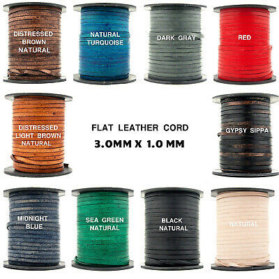 Xsotica-Flat Leather Cords  3.0 MM X 1.0 MM - 1 Yard Cord