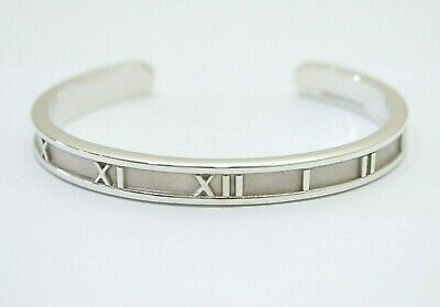 Tiffany & Co. Sterling Silver Atlas Roman Numerals Medium Cuff Bangle Bracelet