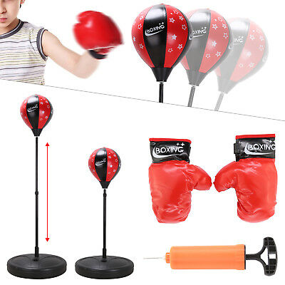 Punch Bag Ball And Mitts Gloves Kit Boxing Gift Set For Kids Junior Free Stand