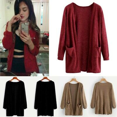 Womens Long Sleeve Knitted Cardigan Loose Casual Sweater Outwear Jacket Coat Top