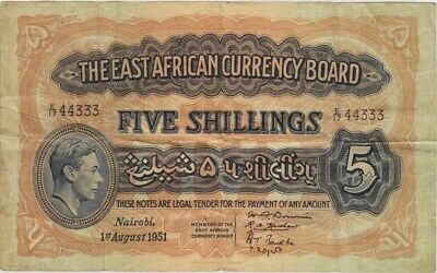 East Africa 1951 5 Shillings Pick#28a Very Fine