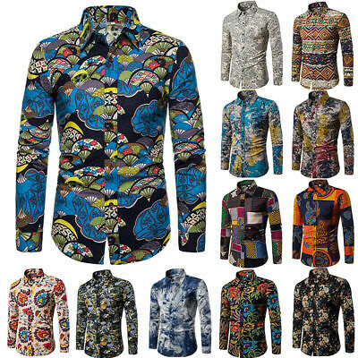 Men's Floral Long Sleeve Buttons Down Shirts Party Casual Tops Slim Fit Blouse