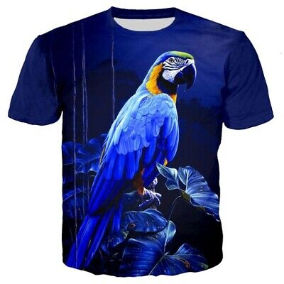 Parrot move Wings Casual Casual Women Men T Shirt 3D Print Short Sleeve Tee Top