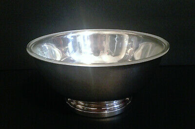 """Paul Revere Gorham EP Silverplate YC781 Footed 9"""" Bowl With Clear Plastic Liner"""