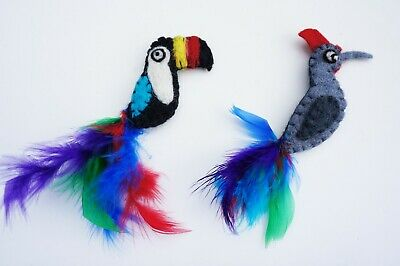 two felt feather Toucan Woodpecker Bird Cat Nip infused set by Tiga Toys