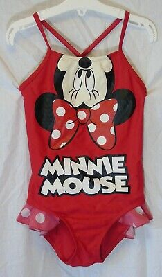 Girls Disney Minnie Mouse Red One Piece Swim Suit Swimming Costume Age 7-8 Years