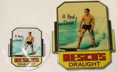 Collectible Reschs Draught A Real Drink Surfer Metal Tap Top Badge - New