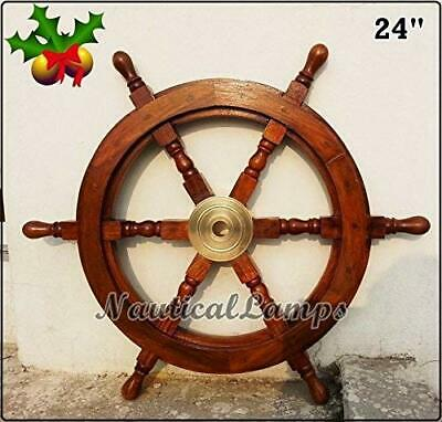 "Collectible 24"" Ship Wheel Pirate Wooden Brass Hub Wall Décor"
