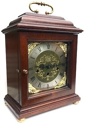 Comitti Of London Mahogany Musical 3 Train Bracket Clock Westminster Chimes