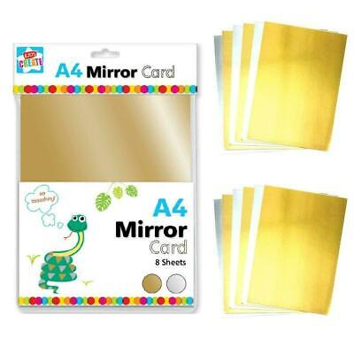 New 8 Sheets Gold & Silver Mirror Card Metallic Shiny Thick Board Craft A4