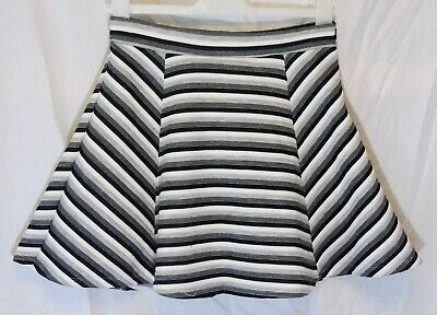 Girls Matalan Black White Grey Stripe Textured Flared Swing Skirt Age 15 Years