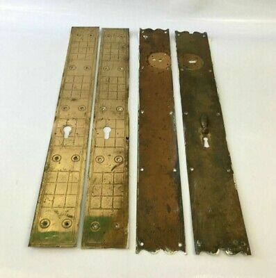 Vintage Reclaimed Brass Patterned Door Plates With Key Hole & Cover Large