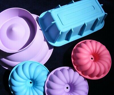 Five Silicone Moulds: Stepped Hemisphere, Loaf Tin & Three 10cm Fancy Rings