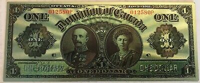 1911 One Dollar Dominion of Canada superb $1 polymer silver plated  banknote