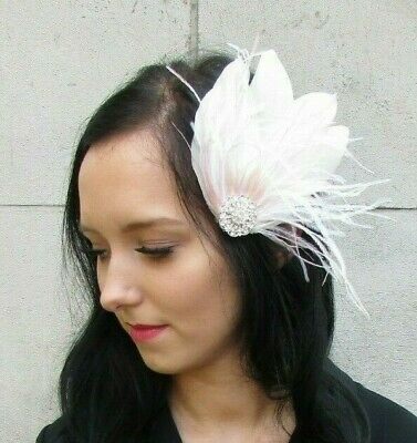 Ivory Blush Light Pink White Silver Feather Fascinator Hair Clip Wedding 7439
