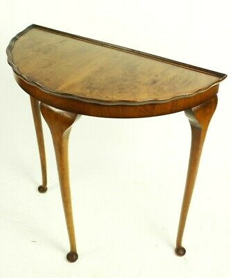 Vintage Queen Anne Style Walnut Demi Lune Console Table [5483]