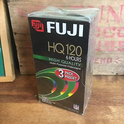 Fuji 3 Pack HQ 120 Blank VHS Tapes 6 hours Factory Sealed NEW old stock Fujifilm