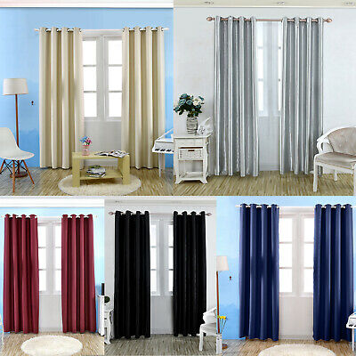 Luxury Thermal Insulated Blackout Short Window Curtains Eyelet Ring Top Shade