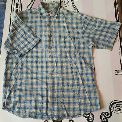 "Size L 44-46"" Vintage Southern Manner Mode Short Sleeve Blue Check Cotton Shirt"