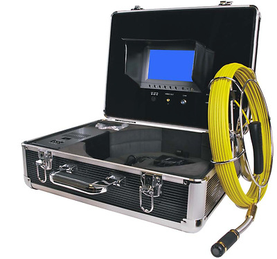 """Sewer Drain Pipe Inspection Camera 7"""" LCD Color Display DVR Mic. USB 65FT Cable"""