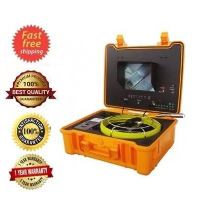 "Sewer Drain Pipe Cleaner Machine 10"" LCD 40M 130F Cable Snake Camera 512HZ Sonde"