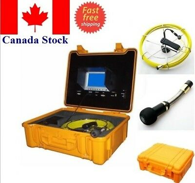 """Sewer Drain Pipe 7"""" LCD Display DVR USB  130FT Cable  1"""" Color Inspection Camera"""